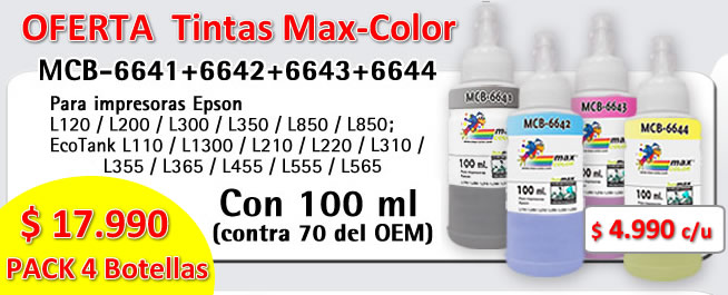 PACK TINTAS 4 BOTELLAS P/ EPSON